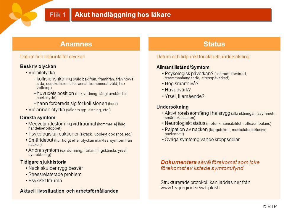 © RTP StatusAnamnes Datum och tidpunkt för olyckan Beskriv olyckan •Vid bilolycka –kollisionsriktning (våld bakifrån, framifrån, från hö/vä sida, seri