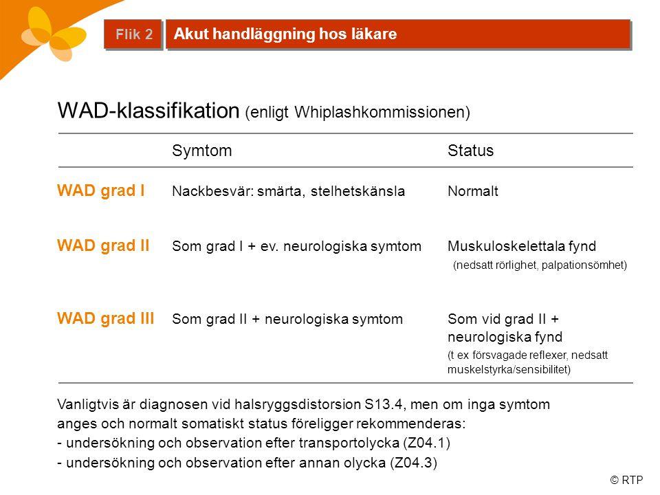 © RTP SymtomStatus WAD grad I Nackbesvär: smärta, stelhetskänslaNormalt WAD grad II Som grad I + ev. neurologiska symtomMuskuloskelettala fynd (nedsat