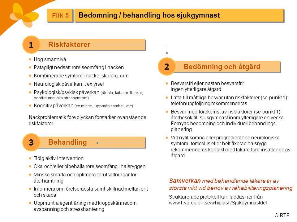 © RTP Bedömning och åtgärd 2 Riskfaktorer Flik 5  Besvärsfri eller nästan besvärsfri: ingen ytterligare åtgärd  Lätta till måttliga besvär utan riskfaktorer (se punkt 1): telefonuppföljning rekommenderas  Besvär med förekomst av riskfaktorer (se punkt 1): återbesök till sjukgymnast inom ytterligare en vecka.