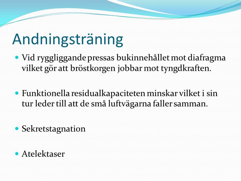 Andningsträning  Vid ryggliggande pressas bukinnehållet mot diafragma vilket gör att bröstkorgen jobbar mot tyngdkraften.
