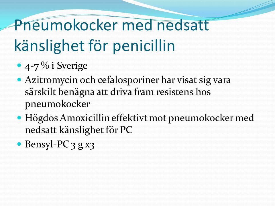 Pneumokocker med nedsatt känslighet för penicillin  4-7 % i Sverige  Azitromycin och cefalosporiner har visat sig vara särskilt benägna att driva fram resistens hos pneumokocker  Högdos Amoxicillin effektivt mot pneumokocker med nedsatt känslighet för PC  Bensyl-PC 3 g x3