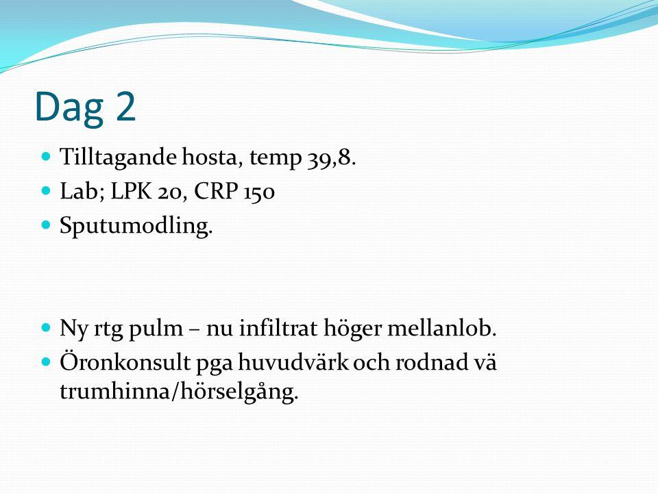 Provtagning  Hb, LPK, trombocyter, CRP, SR, Krea, Albumin, Na, K, ALAT,  Artärgas – om allvarlig pneumoni (bonus - laktat)/ rökare / syrgasbeh / sat under 92%