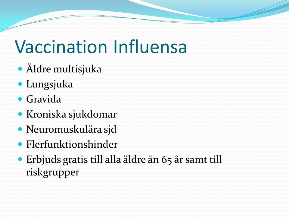 Vaccination Influensa  Äldre multisjuka  Lungsjuka  Gravida  Kroniska sjukdomar  Neuromuskulära sjd  Flerfunktionshinder  Erbjuds gratis till alla äldre än 65 år samt till riskgrupper