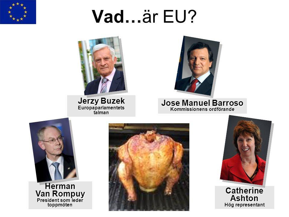 Vad…är EU? Jerzy Buzek Europaparlamentets talman Herman Van Rompuy President som leder toppmöten Jose Manuel Barroso Kommissionens ordförande Catherin