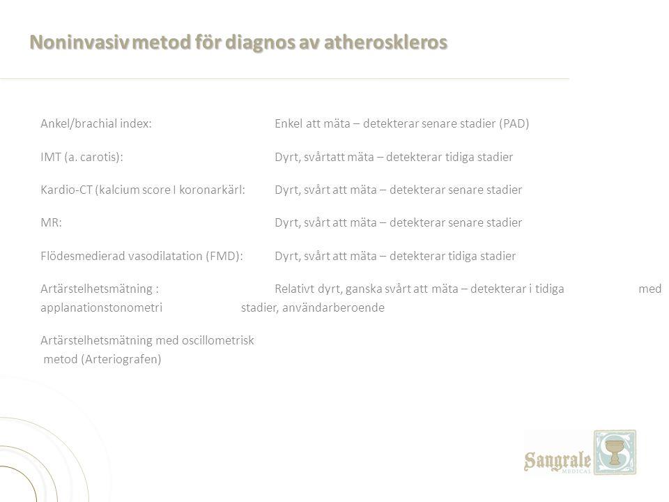Noninvasiv metod för diagnos av atheroskleros Ankel/brachial index: Enkel att mäta – detekterar senare stadier (PAD) IMT (a. carotis): Dyrt, svårtatt