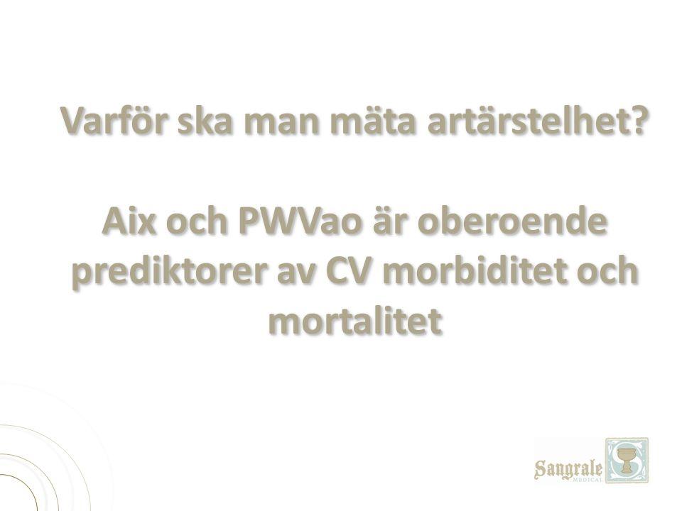 Varför ska man mäta artärstelhet? Aix och PWVao är oberoende prediktorer av CV morbiditet och mortalitet Varför ska man mäta artärstelhet? Aix och PWV