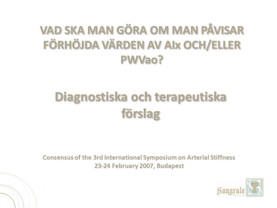 Consensus of the 3rd International Symposium on Arterial Stiffness 23-24 February 2007, Budapest Diagnostiska och terapeutiska förslag VAD SKA MAN GÖR