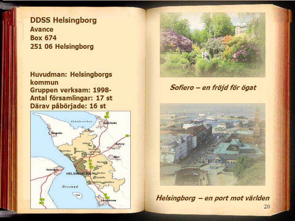 20 DDSS Helsingborg Avance Box 674 251 06 Helsingborg H elsingborg – en port mot världen S ofiero – en fröjd för ögat Huvudman: Helsingborgs kommun Gruppen verksam: 1998- Antal församlingar: 17 st Därav påbörjade: 16 st
