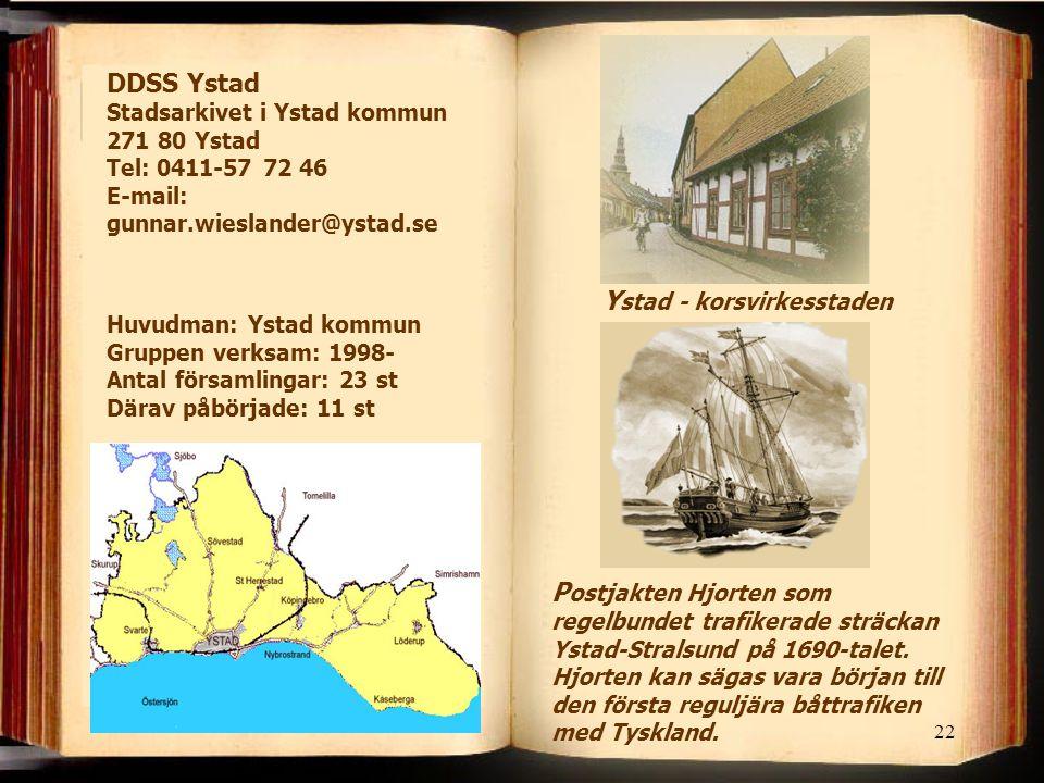 22 Y stad - korsvirkesstaden P ostjakten Hjorten som regelbundet trafikerade sträckan Ystad-Stralsund på 1690-talet.