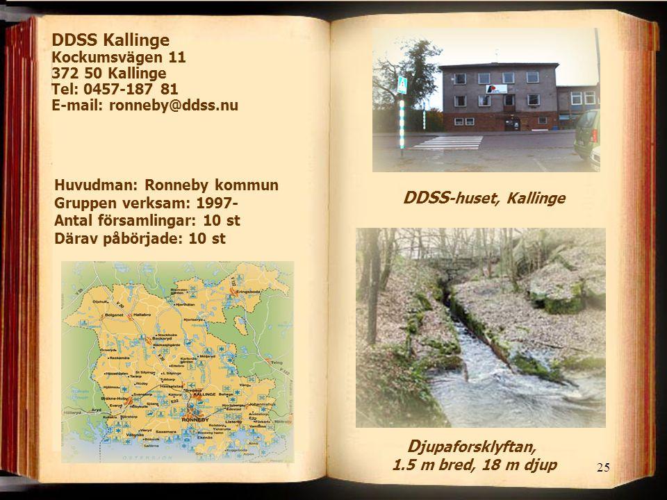 25 DDSS Kallinge Kockumsvägen 11 372 50 Kallinge Tel: 0457-187 81 E-mail: ronneby@ddss.nu Huvudman: Ronneby kommun Gruppen verksam: 1997- Antal församlingar: 10 st Därav påbörjade: 10 st DDSS -huset, Kallinge D jupaforsklyftan, 1.5 m bred, 18 m djup