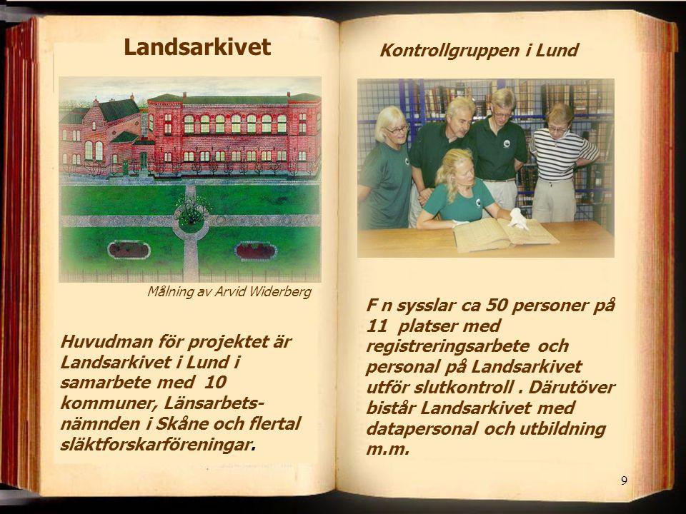 9 Landsarkivet Huvudman för projektet är Landsarkivet i Lund i samarbete med 10 kommuner, Länsarbets- nämnden i Skåne och flertal släktforskarföreningar.
