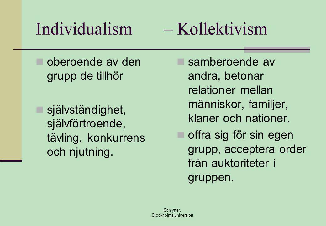 Individualism – Kollektivism  oberoende av den grupp de tillhör  självständighet, självförtroende, tävling, konkurrens och njutning.  samberoende a