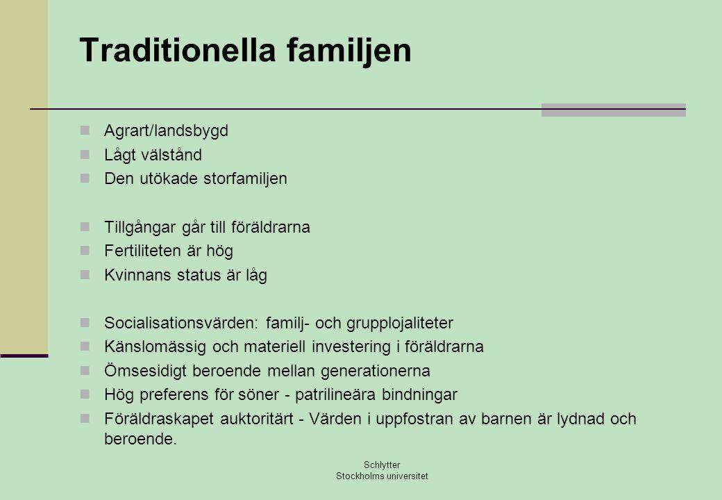 Traditionella familjen  Agrart/landsbygd  Lågt välstånd  Den utökade storfamiljen  Tillgångar går till föräldrarna  Fertiliteten är hög  Kvinnan