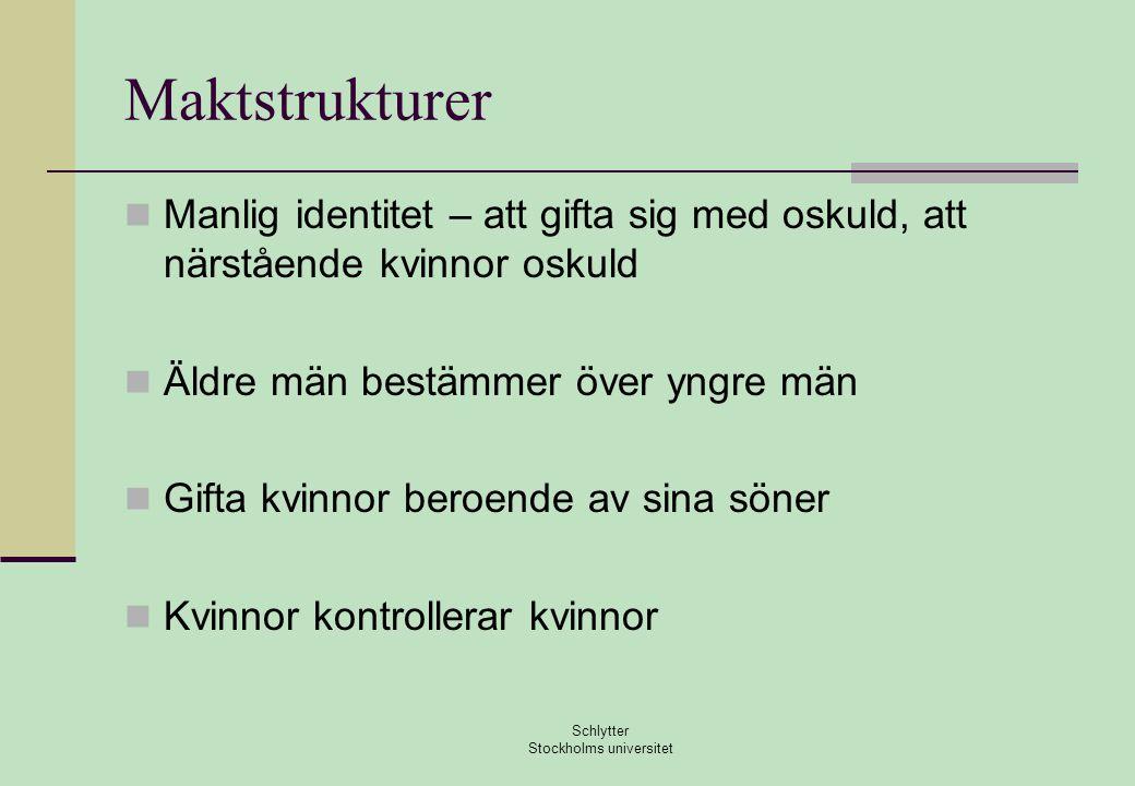 Maktstrukturer  Manlig identitet – att gifta sig med oskuld, att närstående kvinnor oskuld  Äldre män bestämmer över yngre män  Gifta kvinnor beroende av sina söner  Kvinnor kontrollerar kvinnor Schlytter Stockholms universitet