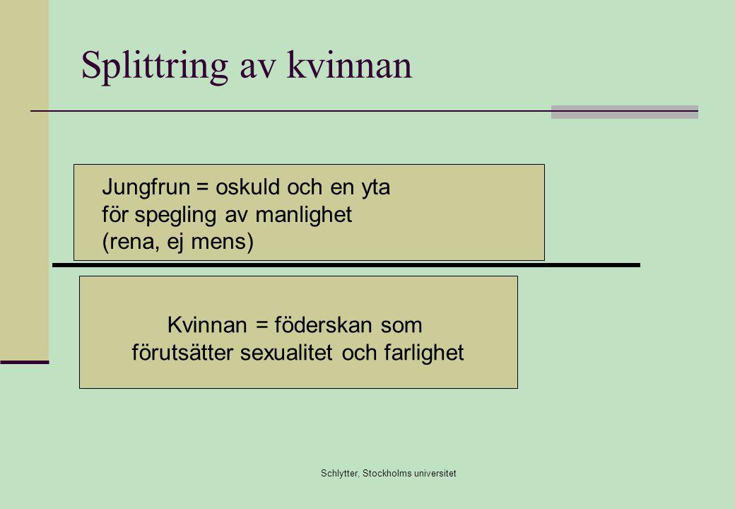 Schlytter, Stockholms universitet Splittring av kvinnan Kvinnan = föderskan som förutsätter sexualitet och farlighet Jungfrun = oskuld och en yta för spegling av manlighet (rena, ej mens)