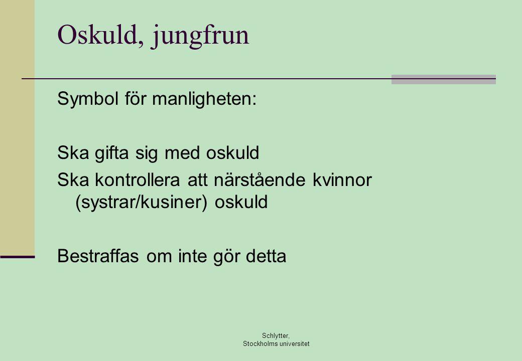 Oskuld, jungfrun Symbol för manligheten: Ska gifta sig med oskuld Ska kontrollera att närstående kvinnor (systrar/kusiner) oskuld Bestraffas om inte gör detta Schlytter, Stockholms universitet
