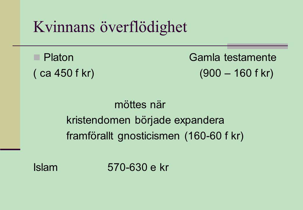 Kvinnans överflödighet  Platon Gamla testamente ( ca 450 f kr) (900 – 160 f kr) möttes när kristendomen började expandera framförallt gnosticismen (160-60 f kr) Islam 570-630 e kr