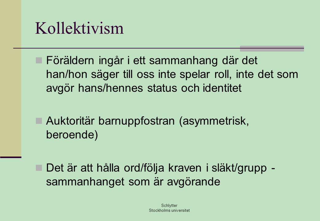 Kollektivism  Föräldern ingår i ett sammanhang där det han/hon säger till oss inte spelar roll, inte det som avgör hans/hennes status och identitet  Auktoritär barnuppfostran (asymmetrisk, beroende)  Det är att hålla ord/följa kraven i släkt/grupp - sammanhanget som är avgörande Schlytter Stockholms universitet