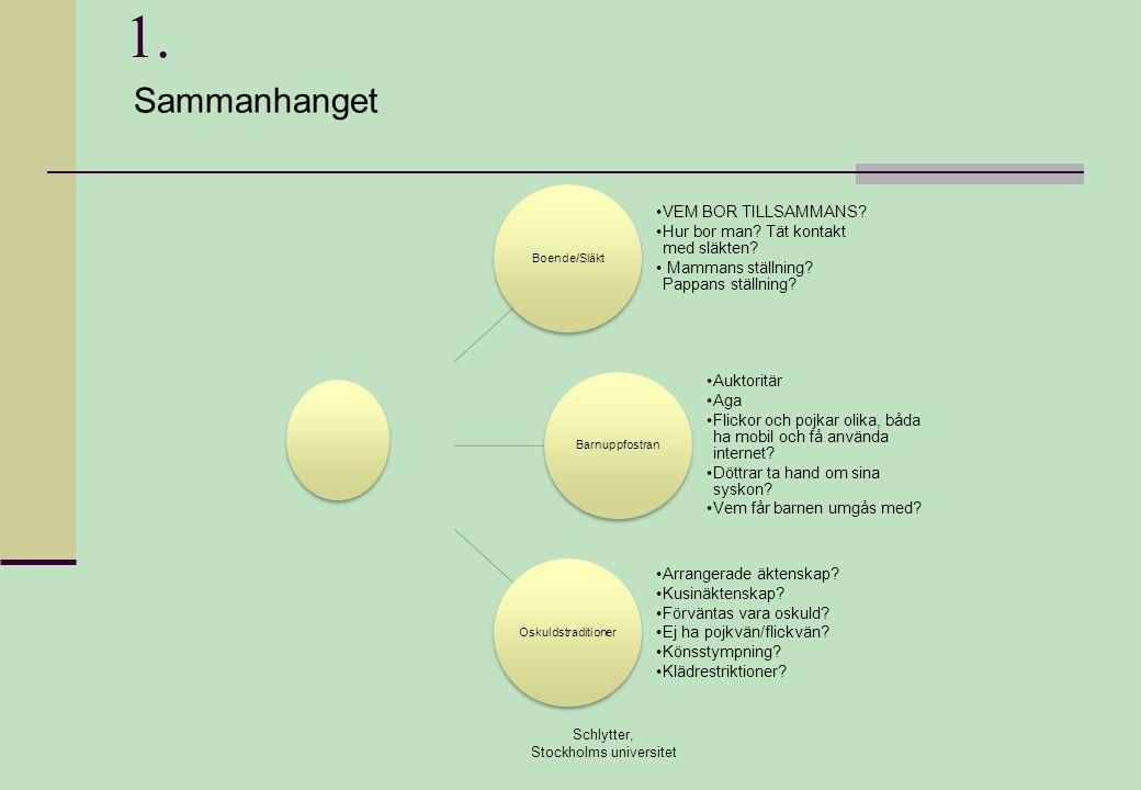 1. Schlytter, Stockholms universitet Boende/Släkt •VEM BOR TILLSAMMANS? •Hur bor man? Tät kontakt med släkten? • Mammans ställning? Pappans ställning?
