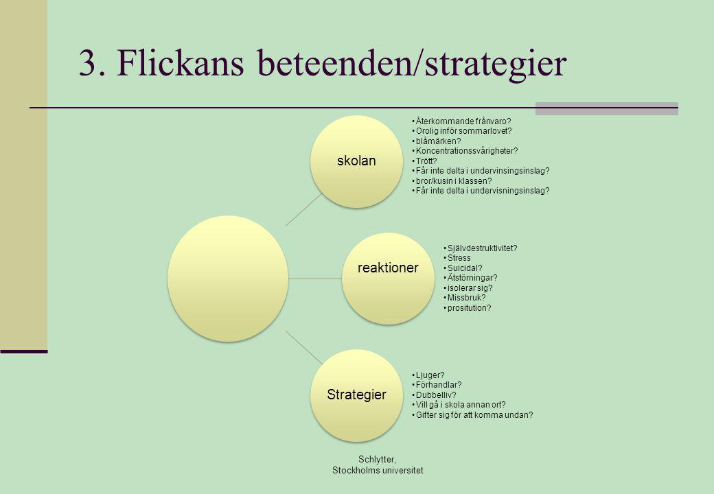 3.Flickans beteenden/strategier Schlytter, Stockholms universitet skolan •Återkommande frånvaro.