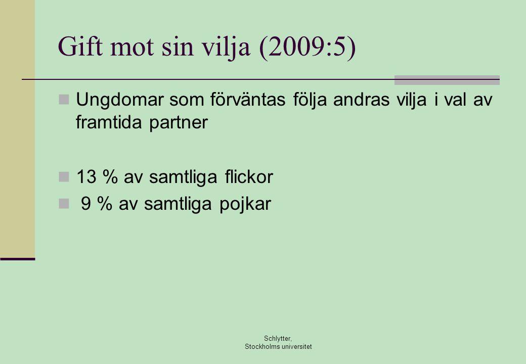 Schlytter, Stockholms universitet Gift mot sin vilja (2009:5)  Ungdomar som förväntas följa andras vilja i val av framtida partner  13 % av samtliga flickor  9 % av samtliga pojkar