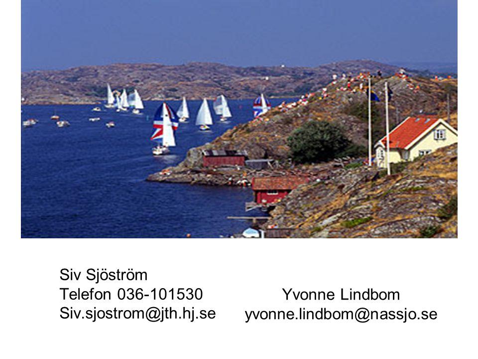 Yvonne Lindbom yvonne.lindbom@nassjo.se Siv Sjöström Telefon 036-101530 Siv.sjostrom@jth.hj.se