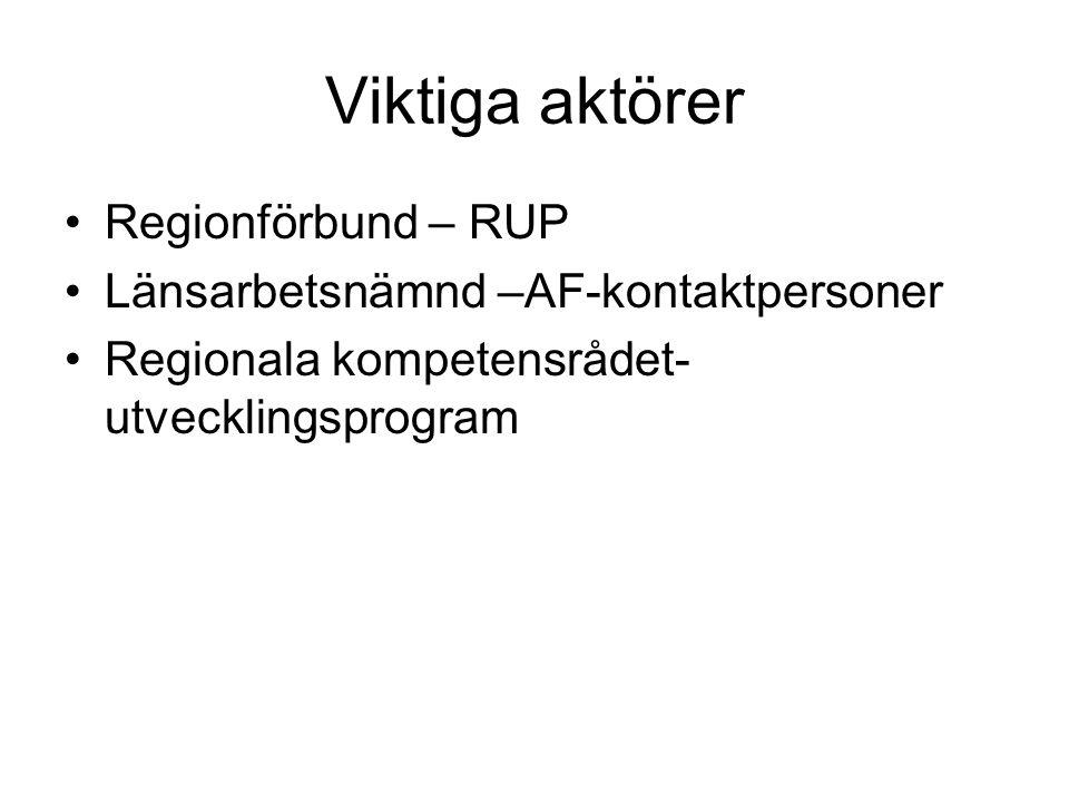 Viktiga aktörer •Regionförbund – RUP •Länsarbetsnämnd –AF-kontaktpersoner •Regionala kompetensrådet- utvecklingsprogram