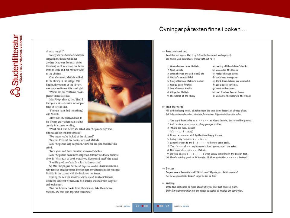 Övningar på texten finns i boken …