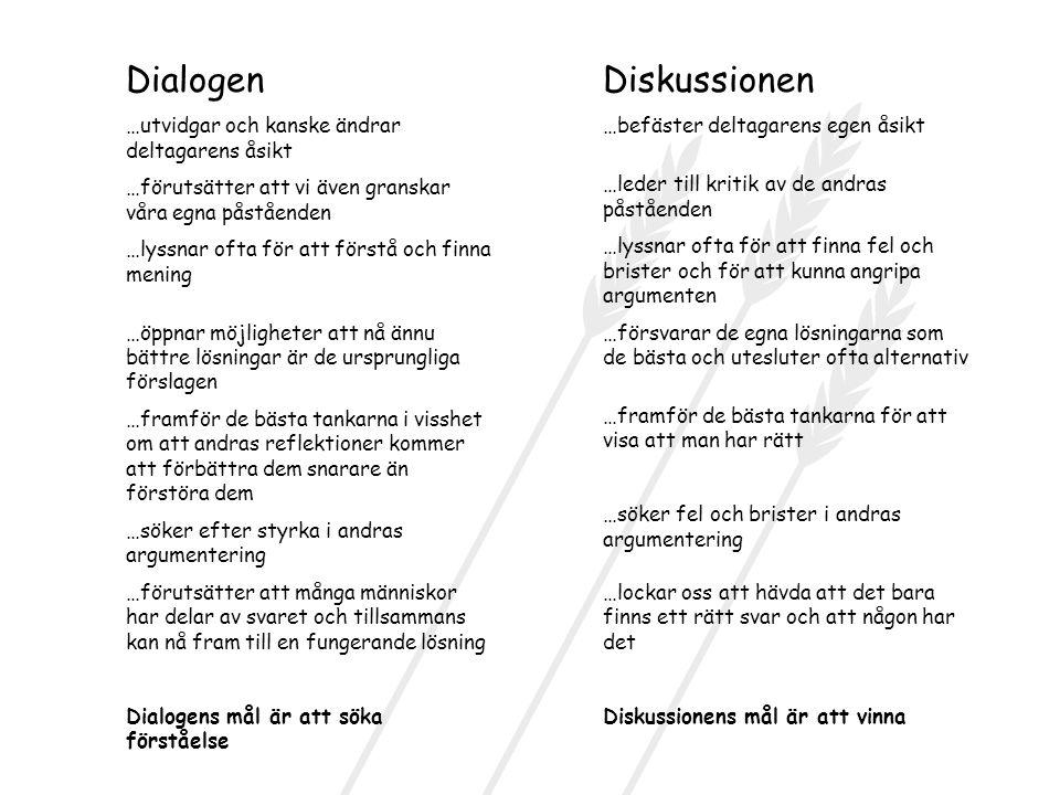 Dialogen …utvidgar och kanske ändrar deltagarens åsikt …förutsätter att vi även granskar våra egna påståenden …lyssnar ofta för att förstå och finna m