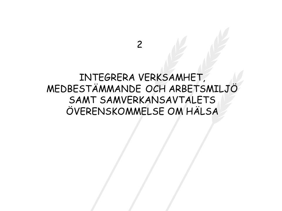 INTEGRERA VERKSAMHET, MEDBESTÄMMANDE OCH ARBETSMILJÖ SAMT SAMVERKANSAVTALETS ÖVERENSKOMMELSE OM HÄLSA 2