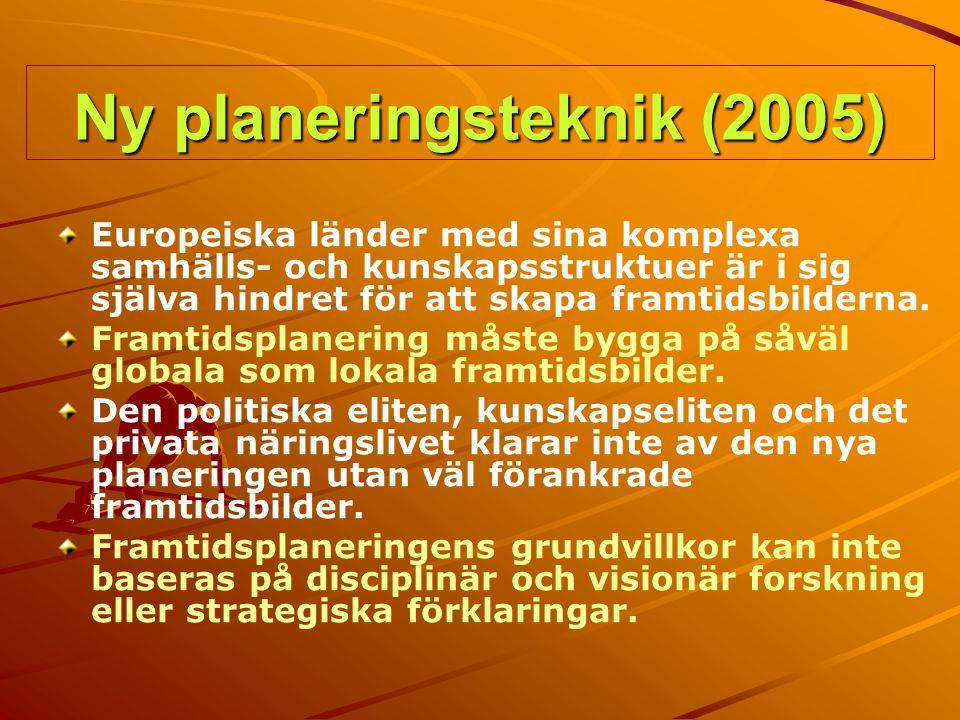 Ny planeringsteknik (2005) Europeiska länder med sina komplexa samhälls- och kunskapsstruktuer är i sig själva hindret för att skapa framtidsbilderna.