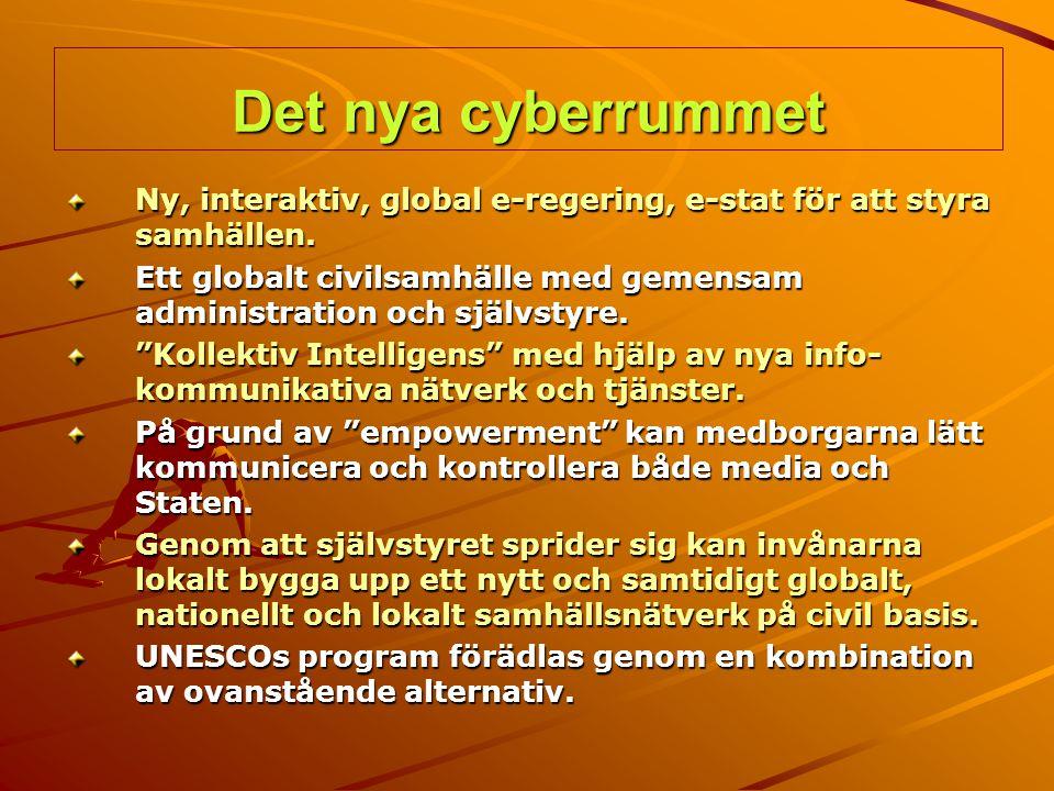 Det nya cyberrummet Ny, interaktiv, global e-regering, e-stat för att styra samhällen. Ett globalt civilsamhälle med gemensam administration och själv