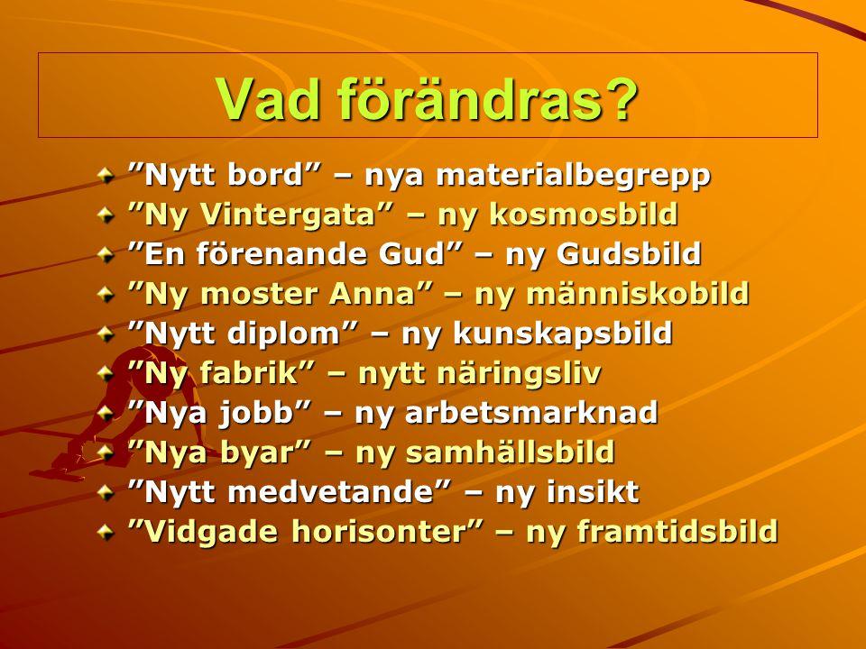 """Vad förändras? """"Nytt bord"""" – nya materialbegrepp """"Ny Vintergata"""" – ny kosmosbild """"En förenande Gud"""" – ny Gudsbild """"Ny moster Anna"""" – ny människobild """""""
