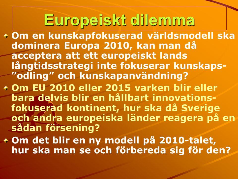 Europeiskt dilemma Om en kunskapfokuserad världsmodell ska dominera Europa 2010, kan man då acceptera att ett europeiskt lands långtidsstrategi inte f