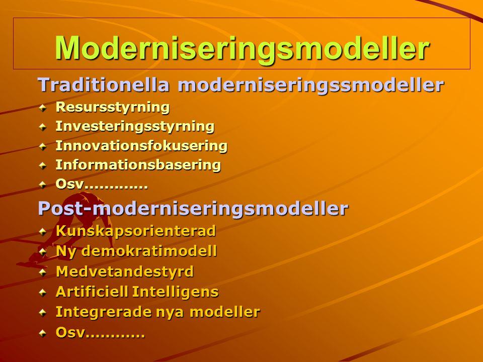 Moderniseringsmodeller Traditionella moderniseringssmodeller Resursstyrning Investeringsstyrning Innovationsfokusering Informationsbasering Osv.......
