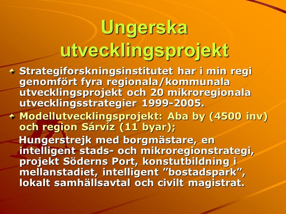 Ungerska utvecklingsprojekt Strategiforskningsinstitutet har i min regi genomfört fyra regionala/kommunala utvecklingsprojekt och 20 mikroregionala ut