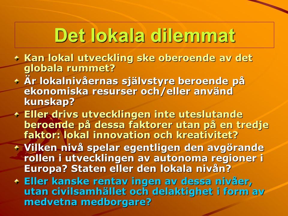 Det lokala dilemmat Kan lokal utveckling ske oberoende av det globala rummet? Är lokalnivåernas självstyre beroende på ekonomiska resurser och/eller a