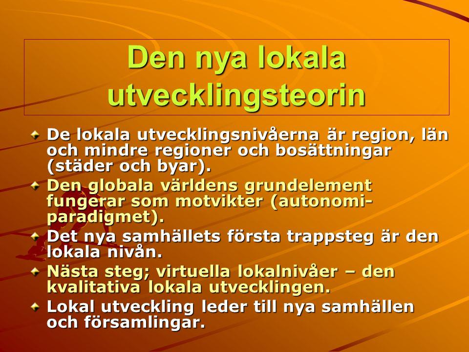 Den nya lokala utvecklingsteorin De lokala utvecklingsnivåerna är region, län och mindre regioner och bosättningar (städer och byar). Den globala värl