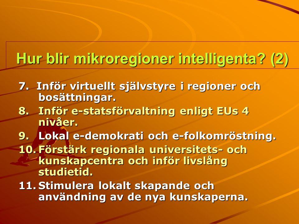 Hur blir mikroregioner intelligenta? (2) 7. Inför virtuellt självstyre i regioner och bosättningar. 8.Inför e-statsförvaltning enligt EUs 4 nivåer. 9.