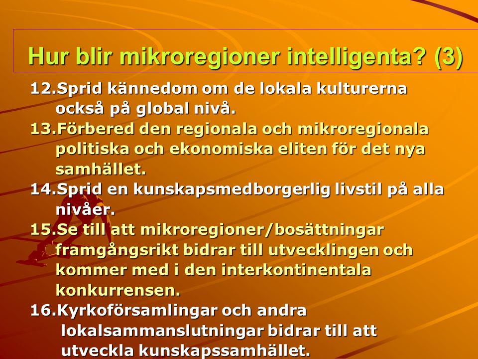 Hur blir mikroregioner intelligenta? (3) 12.Sprid kännedom om de lokala kulturerna också på global nivå. också på global nivå. 13.Förbered den regiona