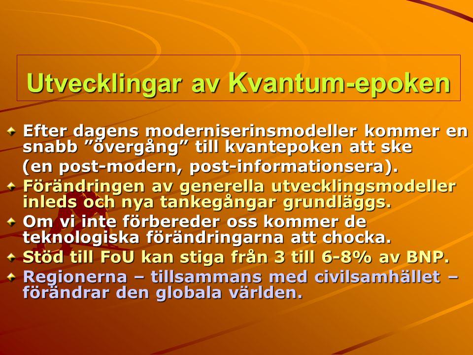 """Utvecklingar av Kvantum-epoken Efter dagens moderniserinsmodeller kommer en snabb """"övergång"""" till kvantepoken att ske (en post-modern, post-informatio"""