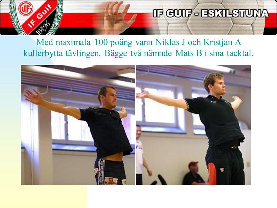 Med maximala 100 poäng vann Niklas J och Kristján A kullerbytta tävlingen.