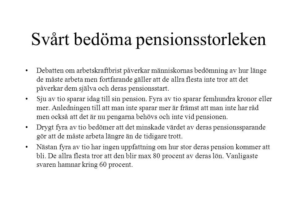 Svårt bedöma pensionsstorleken •Debatten om arbetskraftbrist påverkar människornas bedömning av hur länge de måste arbeta men fortfarande gäller att de allra flesta inte tror att det påverkar dem själva och deras pensionsstart.