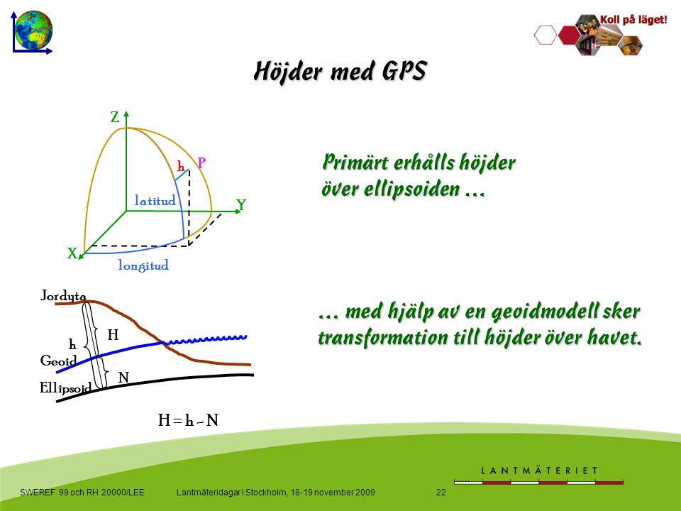 Lantmäteridagar i Stockholm, 18-19 november 2009SWEREF 99 och RH 20000/LEE22 Primärt erhålls höjder över ellipsoiden … … med hjälp av en geoidmodell sker transformation till höjder över havet.