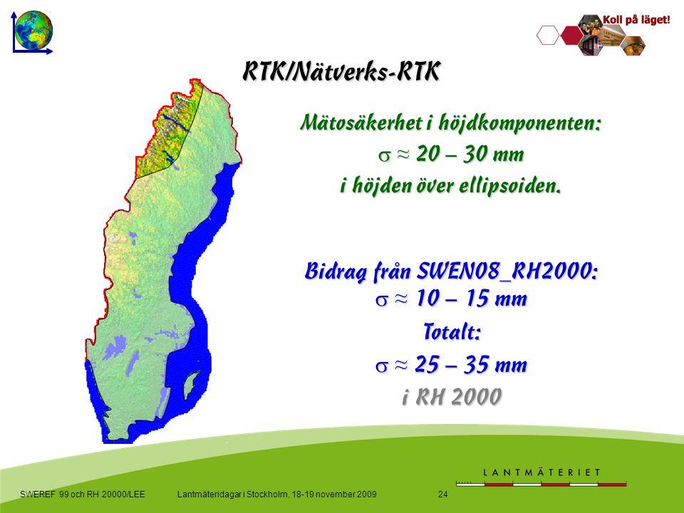 Lantmäteridagar i Stockholm, 18-19 november 2009SWEREF 99 och RH 20000/LEE24 RTK/Nätverks-RTK Bidrag från SWEN08_RH2000:  ≈ 10 – 15 mm Totalt:  ≈ 25