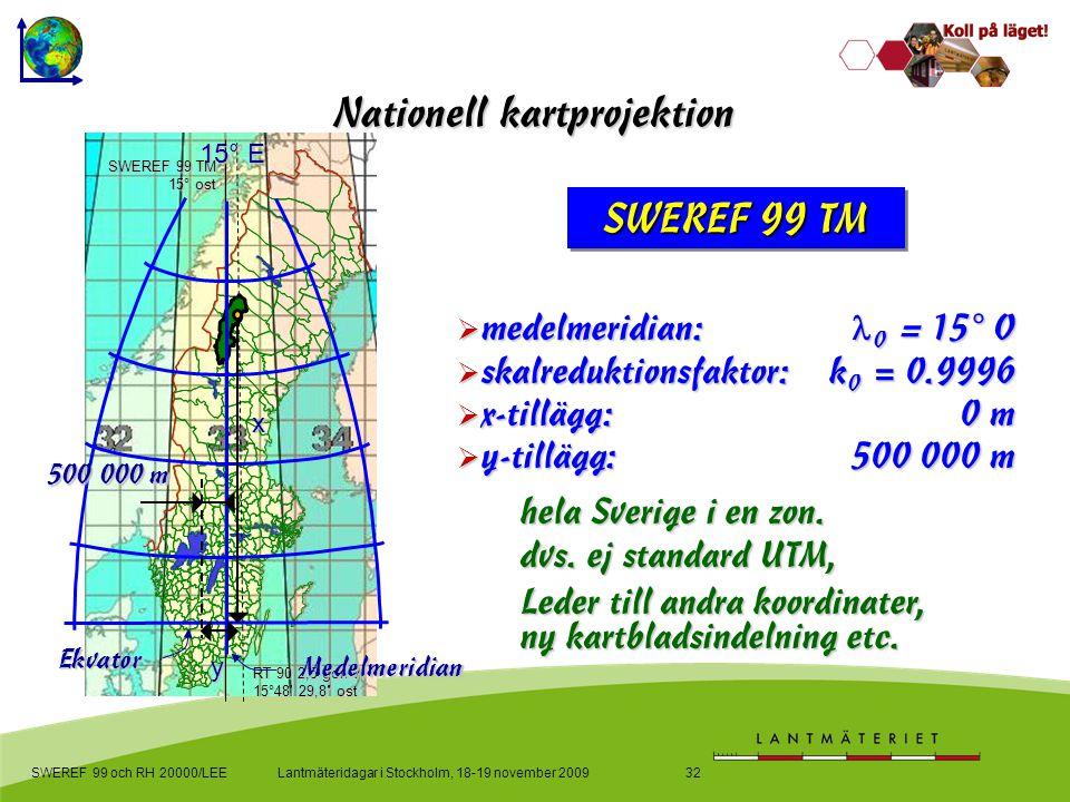 Lantmäteridagar i Stockholm, 18-19 november 2009SWEREF 99 och RH 20000/LEE32 Nationell kartprojektion  medelmeridian:  0 = 15° O  skalreduktionsfaktor: k 0 = 0.9996  x-tillägg:0 m  y-tillägg:500 000 m hela Sverige i en zon.