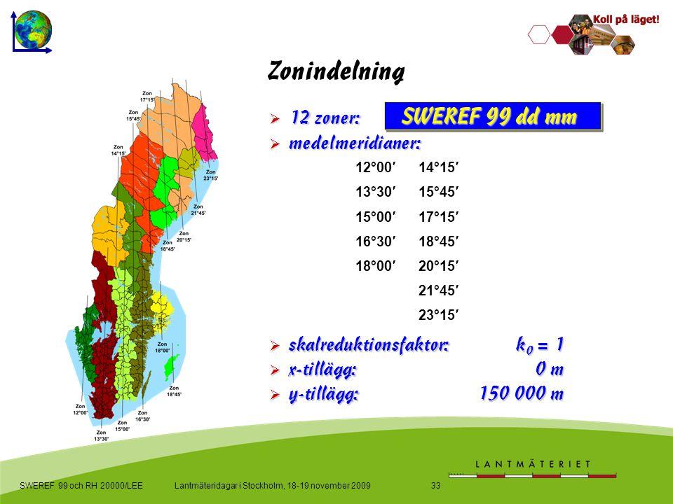 Lantmäteridagar i Stockholm, 18-19 november 2009SWEREF 99 och RH 20000/LEE33 Zonindelning  skalreduktionsfaktor: k 0 = 1  x-tillägg:0 m  y-tillägg:150 000 m  medelmeridianer:  12 zoner: SWEREF 99 dd mm 12°00′14°15′ 13°30′15°45′ 15°00′17°15′ 16°30′18°45′ 18°00′20°15′ 21°45′ 23°15′