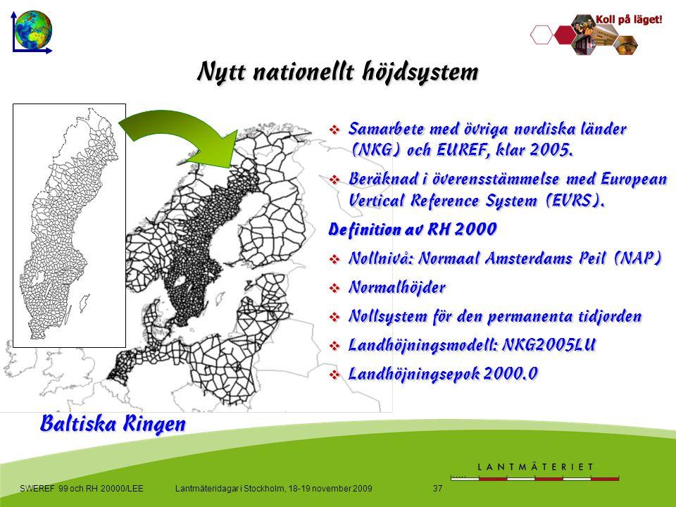 Lantmäteridagar i Stockholm, 18-19 november 2009SWEREF 99 och RH 20000/LEE37 Nytt nationellt höjdsystem  Samarbete med övriga nordiska länder (NKG) och EUREF, klar 2005.