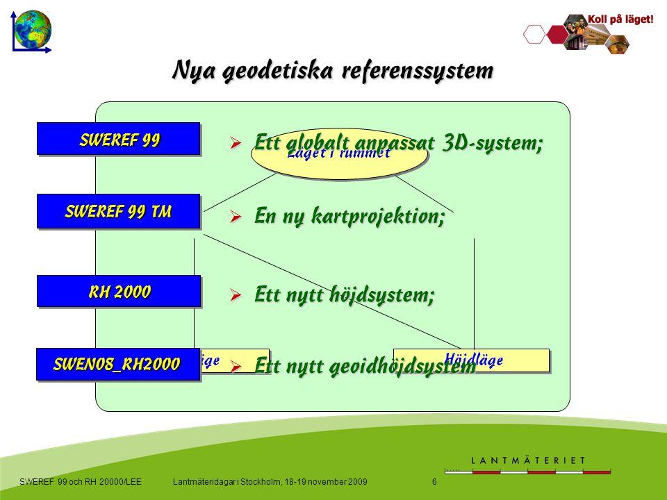 Lantmäteridagar i Stockholm, 18-19 november 2009SWEREF 99 och RH 20000/LEE6 Ny geodetisk infrastruktur Nya geodetiska referenssystem Läget i rummet Pl