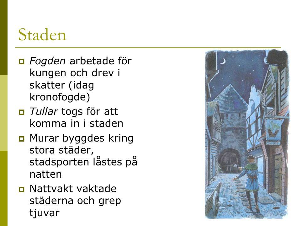 Staden  Fogden arbetade för kungen och drev i skatter (idag kronofogde)  Tullar togs för att komma in i staden  Murar byggdes kring stora städer, stadsporten låstes på natten  Nattvakt vaktade städerna och grep tjuvar